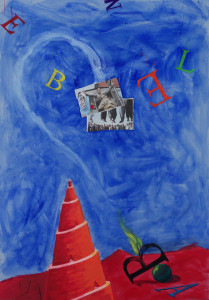 PABLO SYCET. TIPOS MÓVILES. En Babel, 2016. Técnica mixta s-cartón. 100 x 70 cm e_b